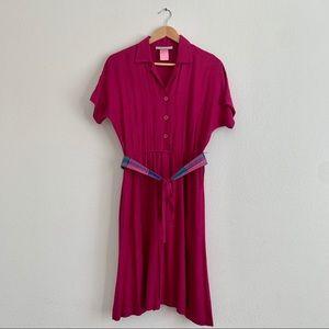 Carol Anderson 80s Vintage Magenta Dress size 3/4